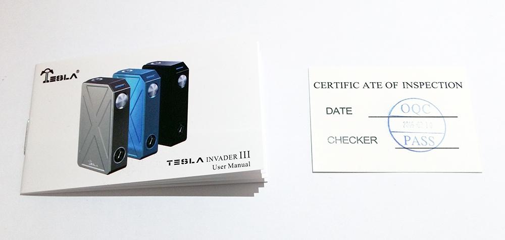 Tesla Invader 3 Manual & Certificate - Ecigclopedia